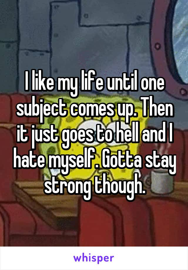 I like my life until one subject comes up. Then it just goes to hell and I hate myself. Gotta stay strong though.