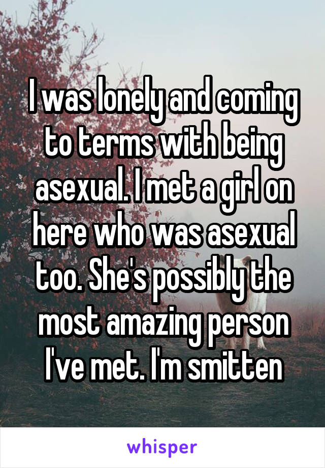 I was lonely and coming to terms with being asexual. I met a girl on here who was asexual too. She's possibly the most amazing person I've met. I'm smitten