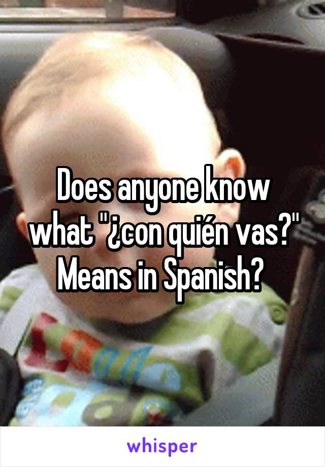 "Does anyone know what ""¿con quién vas?"" Means in Spanish?"