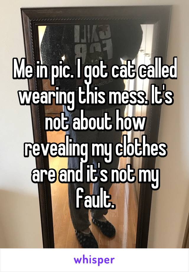 Me in pic. I got cat called wearing this mess. It's not about how revealing my clothes are and it's not my fault.