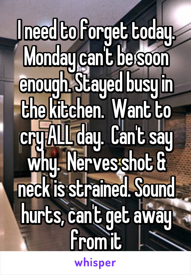 I need to forget today. Monday can't be soon enough. Stayed busy in the kitchen.  Want to cry ALL day.  Can't say why.  Nerves shot & neck is strained. Sound hurts, can't get away from it