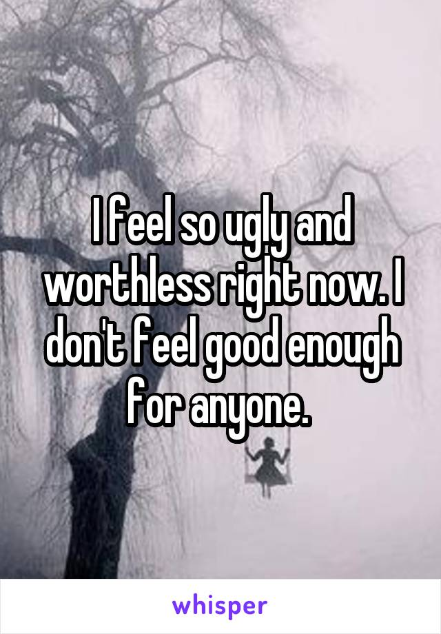 I feel so ugly and worthless right now. I don't feel good enough for anyone.