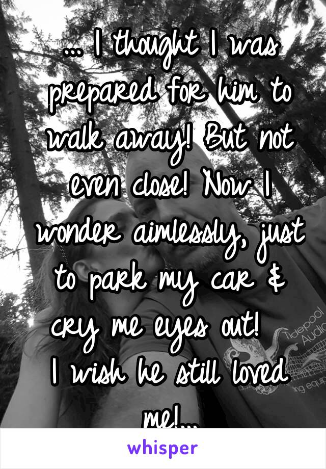 ... I thought I was prepared for him to walk away! But not even close! Now I wonder aimlessly, just to park my car & cry me eyes out!   I wish he still loved me!...