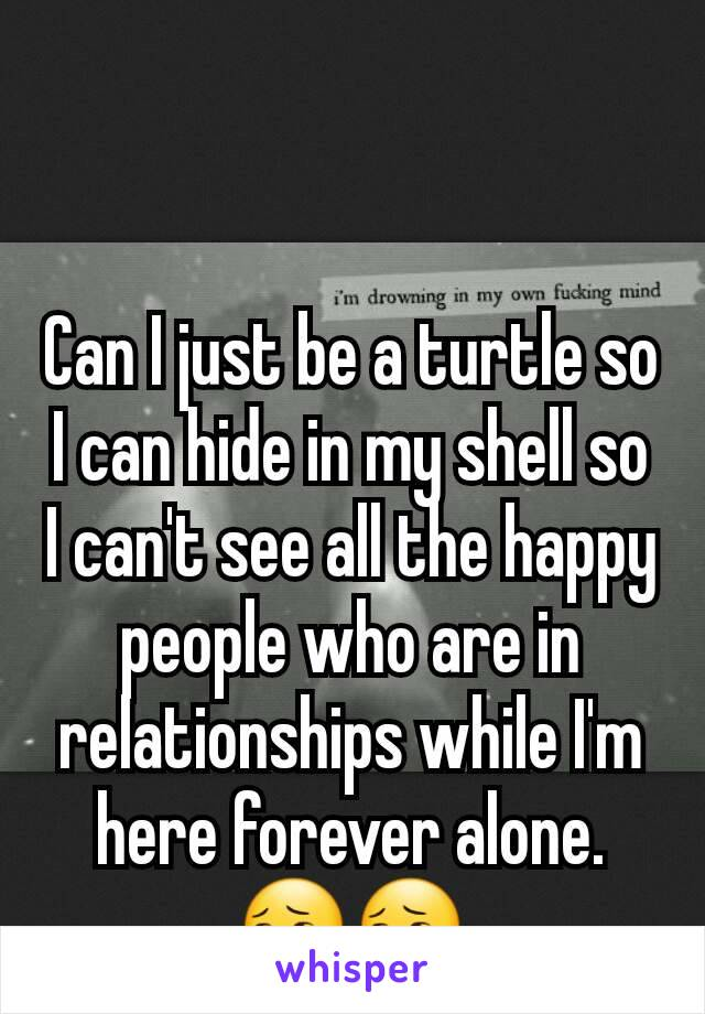 Can I just be a turtle so I can hide in my shell so I can't see all the happy people who are in relationships while I'm here forever alone. 😔😔