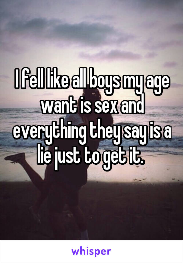 I fell like all boys my age want is sex and everything they say is a lie just to get it.