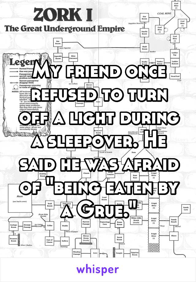 """My friend once refused to turn off a light during a sleepover. He said he was afraid of """"being eaten by a Grue."""""""