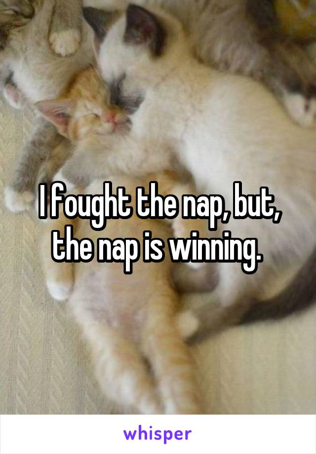 I fought the nap, but, the nap is winning.