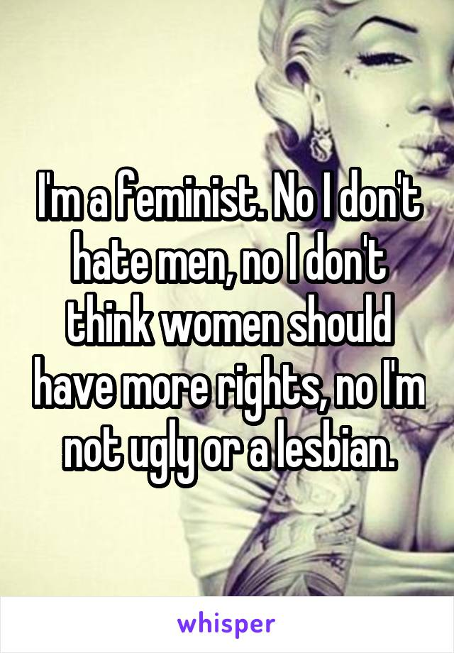 I'm a feminist. No I don't hate men, no I don't think women should have more rights, no I'm not ugly or a lesbian.