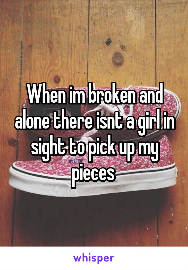 When im broken and alone there isnt a girl in sight to pick up my pieces