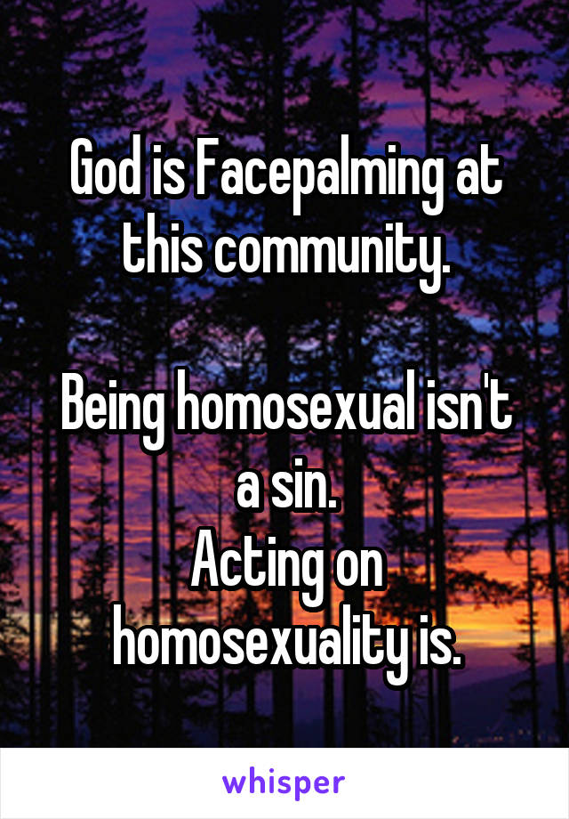 God is Facepalming at this community.  Being homosexual isn't a sin. Acting on homosexuality is.