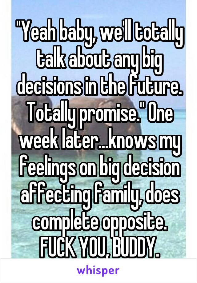 """Yeah baby, we'll totally talk about any big decisions in the future. Totally promise."" One week later...knows my feelings on big decision affecting family, does complete opposite. FUCK YOU, BUDDY."