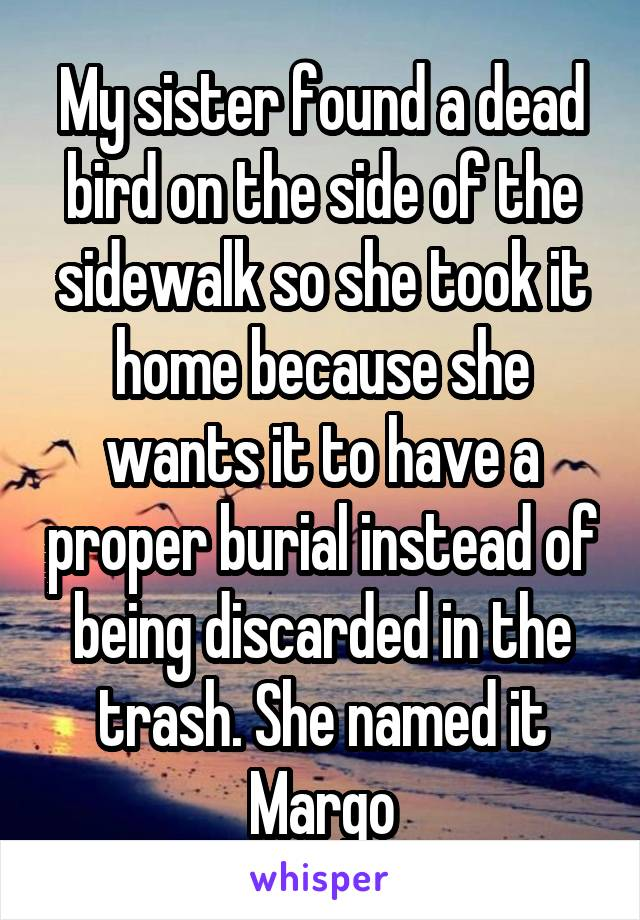 My sister found a dead bird on the side of the sidewalk so she took it home because she wants it to have a proper burial instead of being discarded in the trash. She named it Margo