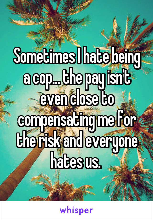 Sometimes I hate being a cop... the pay isn't even close to compensating me for the risk and everyone hates us.