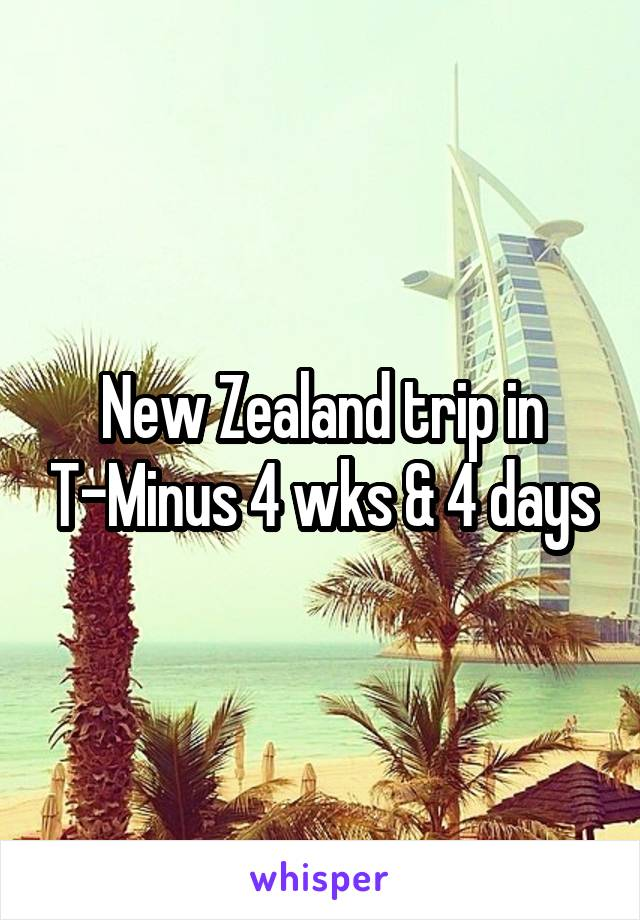 New Zealand trip in T-Minus 4 wks & 4 days
