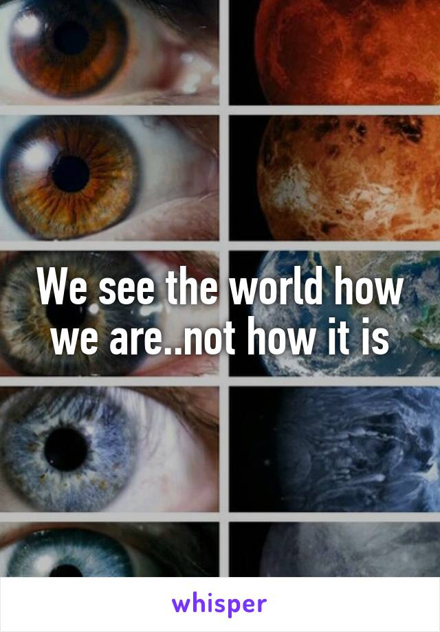 We see the world how we are..not how it is