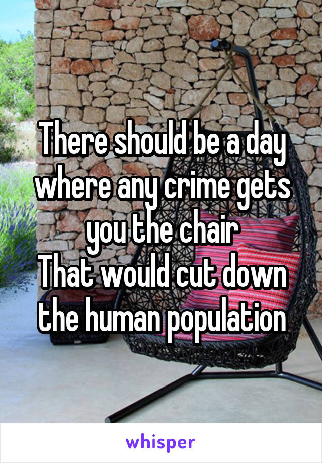 There should be a day where any crime gets you the chair That would cut down the human population