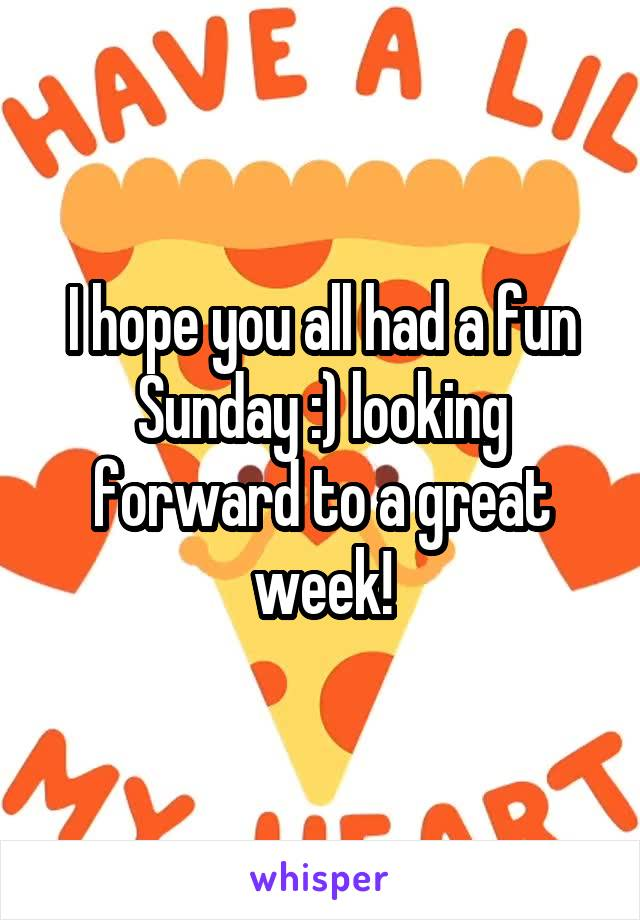 I hope you all had a fun Sunday :) looking forward to a great week!