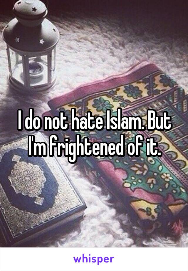 I do not hate Islam. But I'm frightened of it.