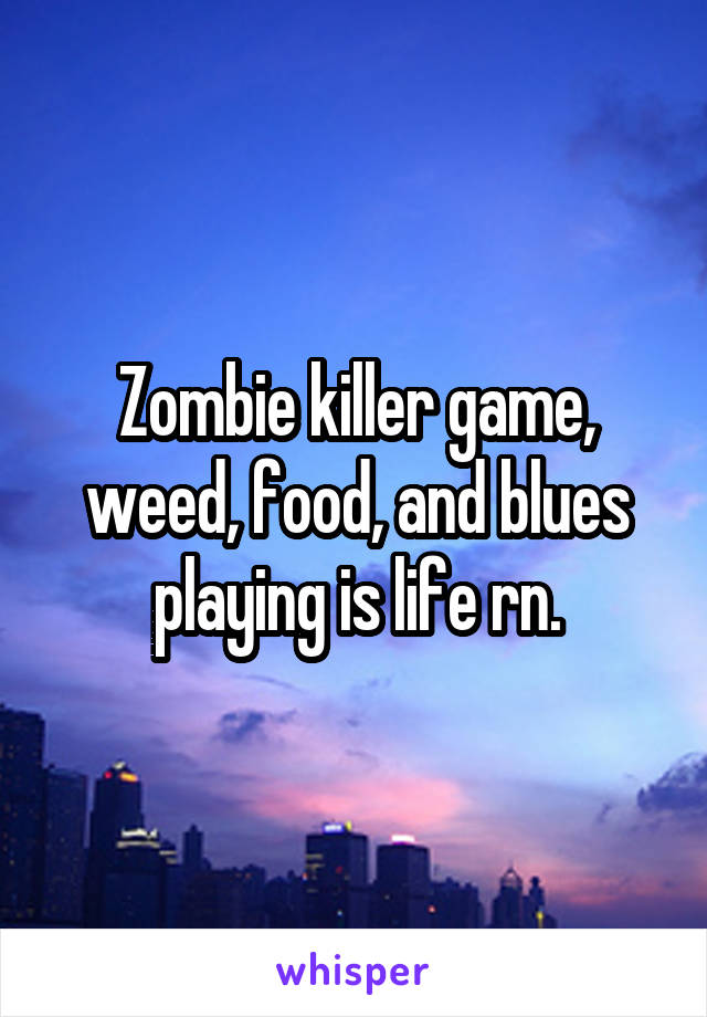 Zombie killer game, weed, food, and blues playing is life rn.