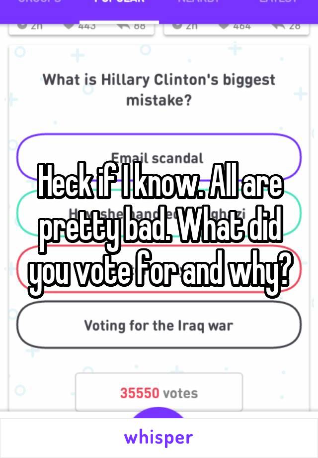 Heck if I know. All are pretty bad. What did you vote for and why?