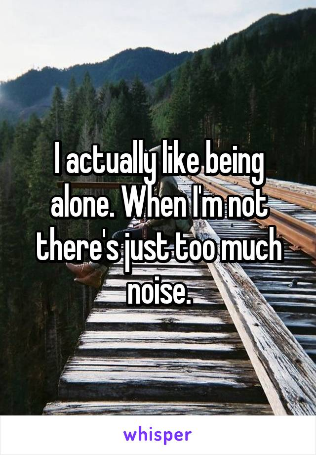 I actually like being alone. When I'm not there's just too much noise.