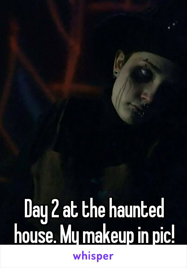 Day 2 at the haunted house. My makeup in pic!