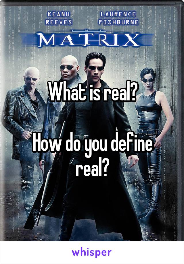 What is real?  How do you define real?