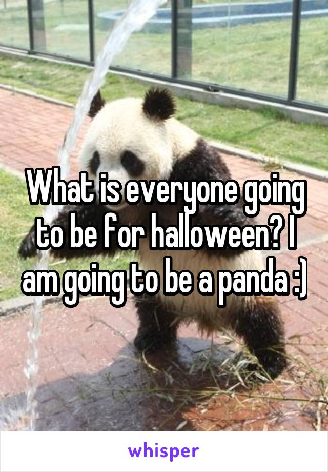 What is everyone going to be for halloween? I am going to be a panda :)