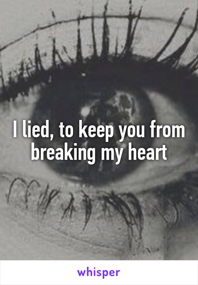 I lied, to keep you from breaking my heart