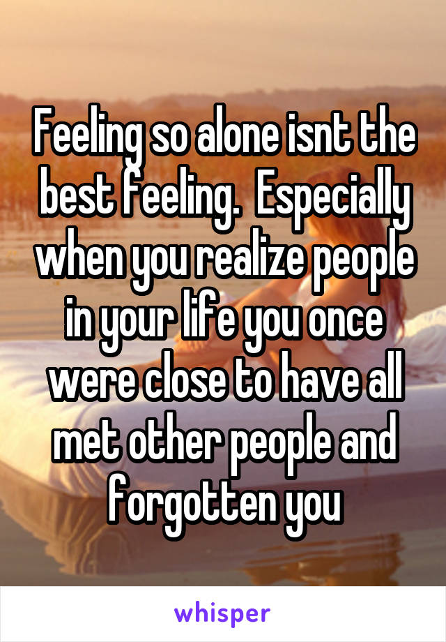 Feeling so alone isnt the best feeling.  Especially when you realize people in your life you once were close to have all met other people and forgotten you