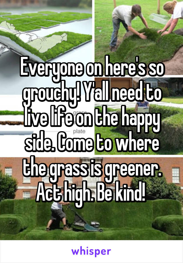 Everyone on here's so grouchy! Y'all need to live life on the happy side. Come to where the grass is greener. Act high. Be kind!
