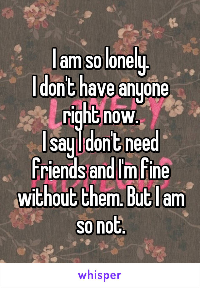 I am so lonely. I don't have anyone right now. I say I don't need friends and I'm fine without them. But I am so not.