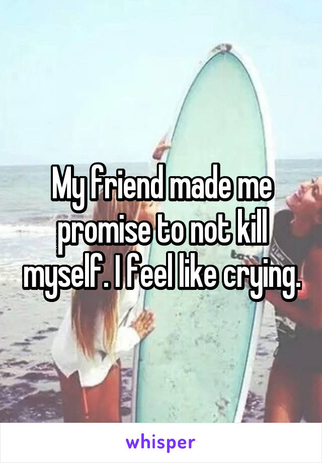 My friend made me promise to not kill myself. I feel like crying.