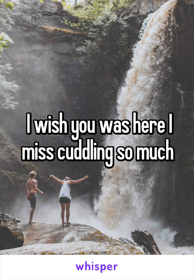 I wish you was here I miss cuddling so much
