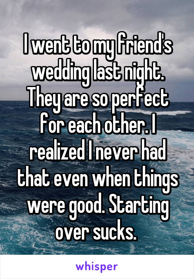 I went to my friend's wedding last night. They are so perfect for each other. I realized I never had that even when things were good. Starting over sucks.