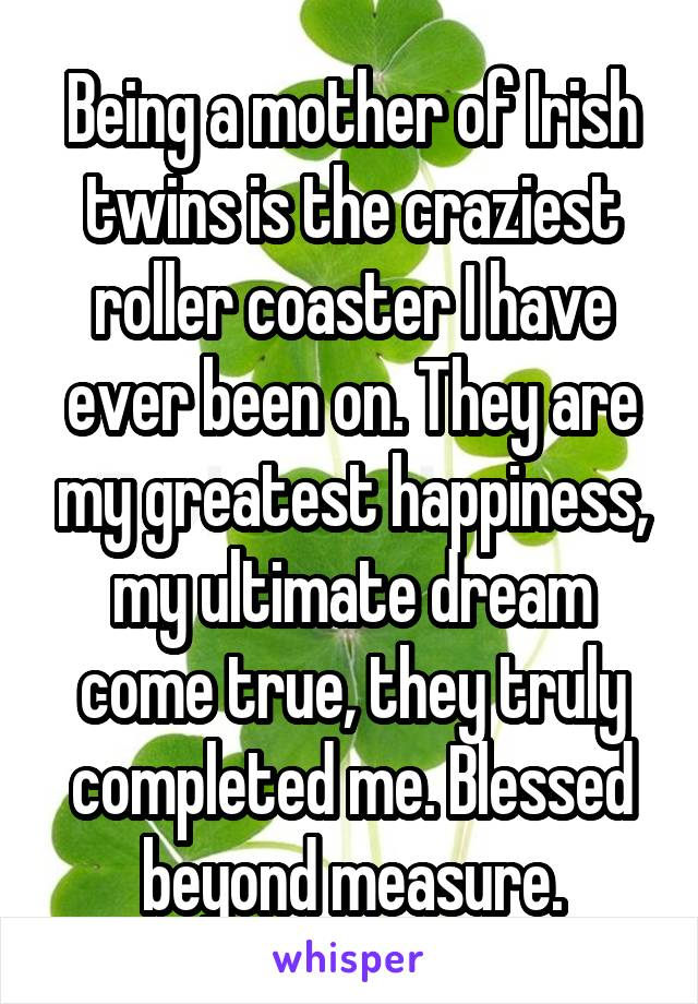 Being a mother of Irish twins is the craziest roller coaster I have ever been on. They are my greatest happiness, my ultimate dream come true, they truly completed me. Blessed beyond measure.