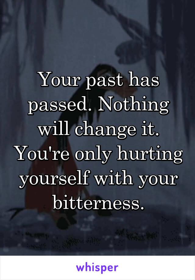 Your past has passed. Nothing will change it. You're only hurting yourself with your bitterness.