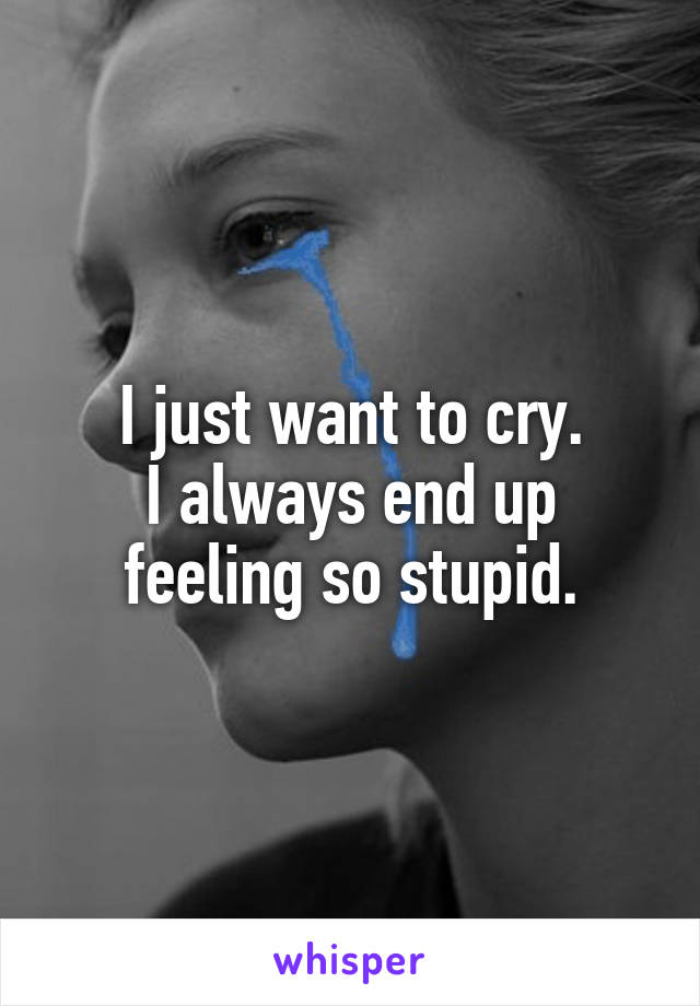 I just want to cry. I always end up feeling so stupid.