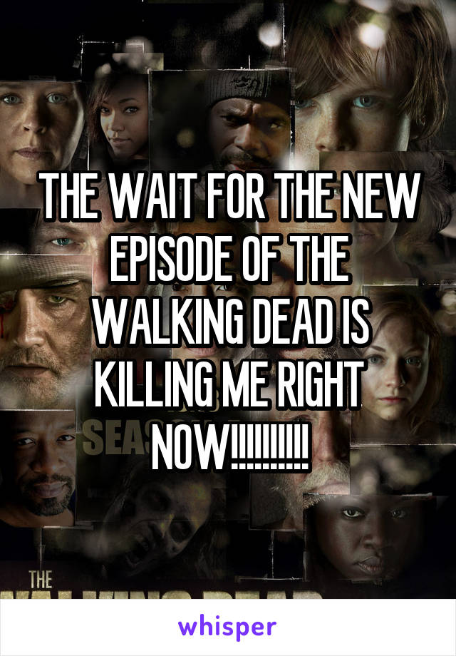 THE WAIT FOR THE NEW EPISODE OF THE WALKING DEAD IS KILLING ME RIGHT NOW!!!!!!!!!!