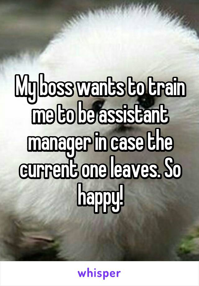 My boss wants to train me to be assistant manager in case the current one leaves. So happy!