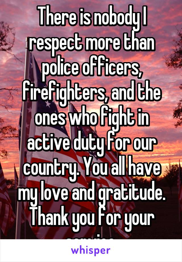 There is nobody I respect more than police officers, firefighters, and the ones who fight in active duty for our country. You all have my love and gratitude. Thank you for your service.