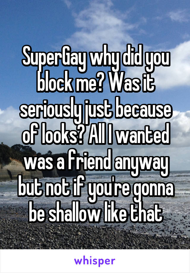 SuperGay why did you block me? Was it seriously just because of looks? All I wanted was a friend anyway but not if you're gonna be shallow like that