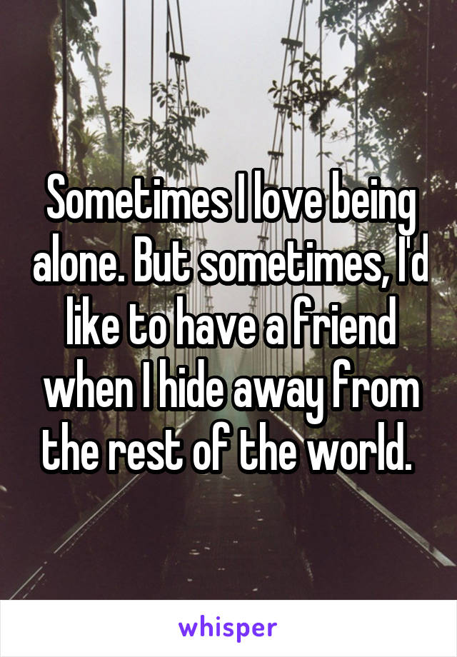 Sometimes I love being alone. But sometimes, I'd like to have a friend when I hide away from the rest of the world.