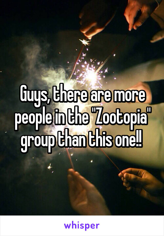 "Guys, there are more people in the ""Zootopia"" group than this one!!"
