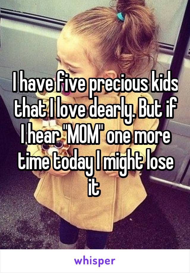 "I have five precious kids that I love dearly. But if I hear ""MOM"" one more time today I might lose it"