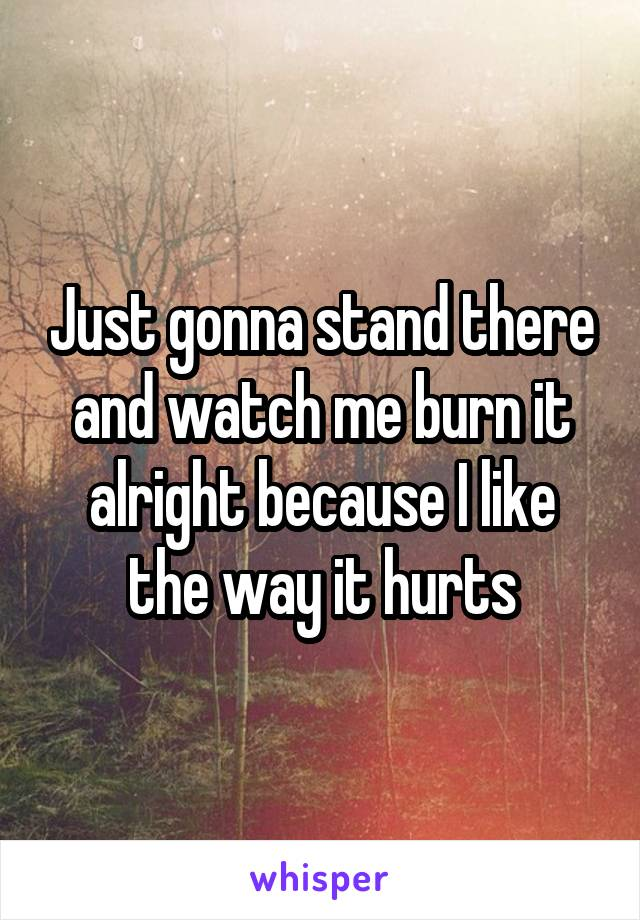 Just gonna stand there and watch me burn it alright because I like the way it hurts