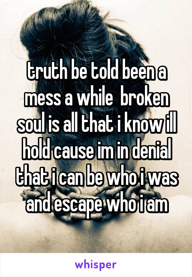 truth be told been a mess a while  broken soul is all that i know ill hold cause im in denial that i can be who i was and escape who i am