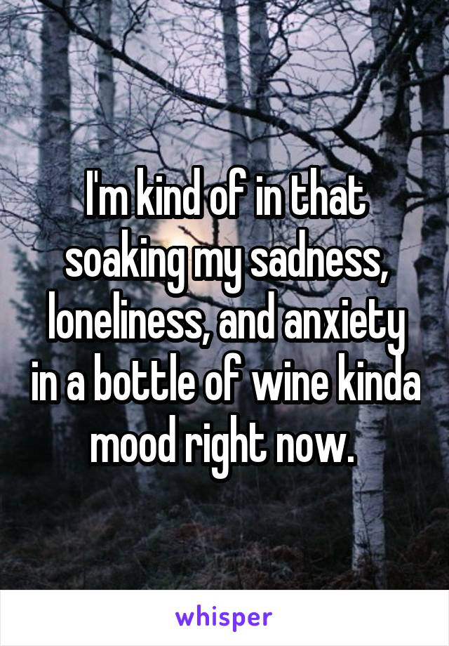 I'm kind of in that soaking my sadness, loneliness, and anxiety in a bottle of wine kinda mood right now.