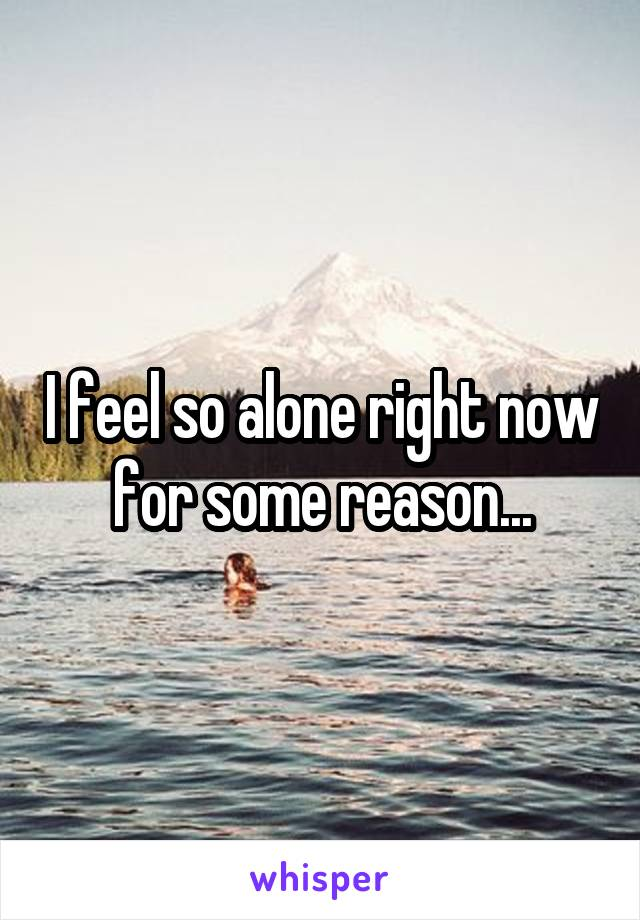 I feel so alone right now for some reason...