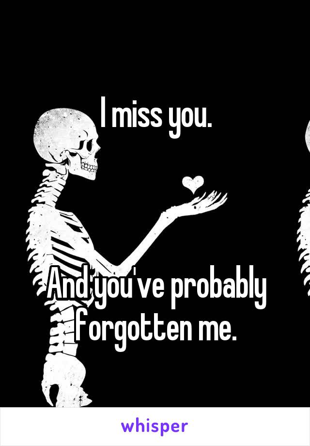 I miss you.    And you've probably forgotten me.